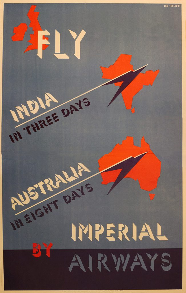 Imperial Airways Poster, India and Australia by Imperial Airways