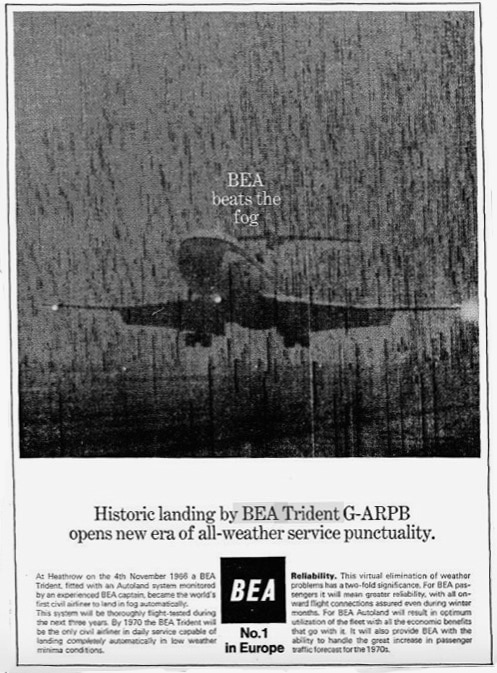 BEA Trident Aircraft Advertisement 1966