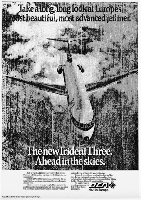 BEA Trident Three Aircraft Advertisement February 1971