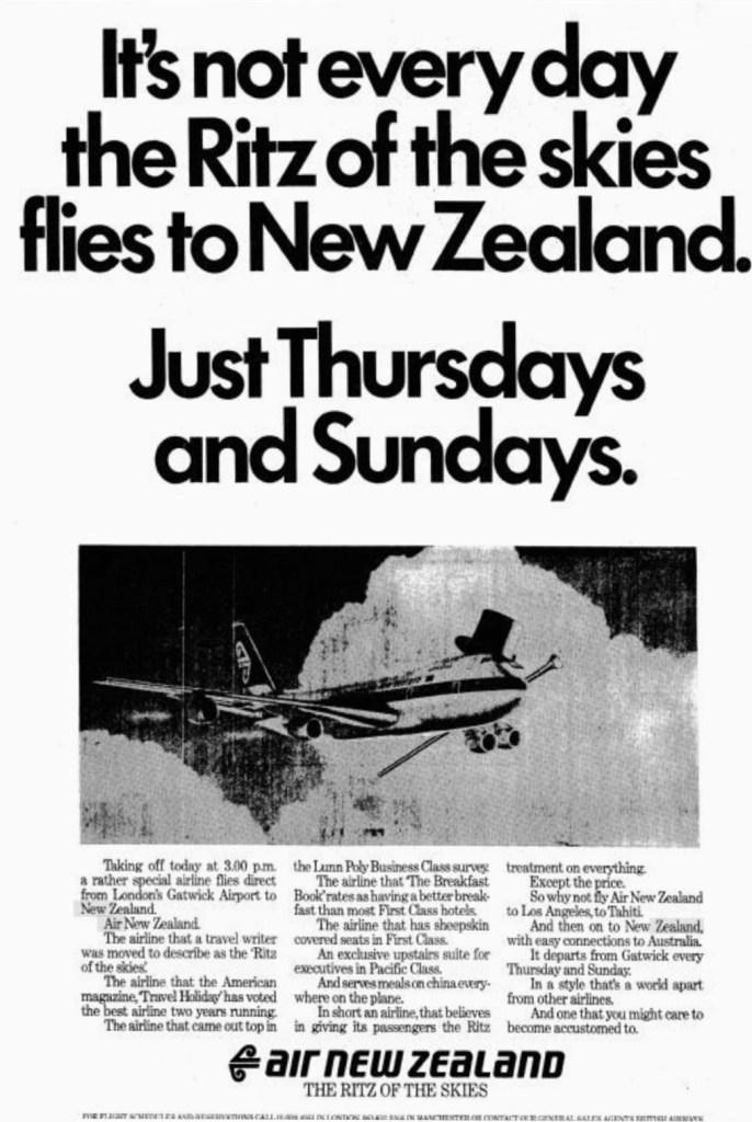 Air New Zealand Press Advertisement, 26 August 1982