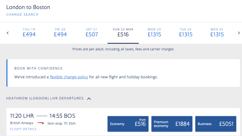 British Airways Special One Way Fares To The US