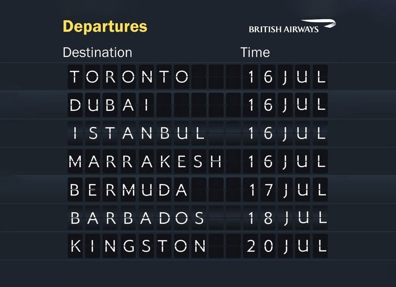 British Airways Reinstated Routes July 2020