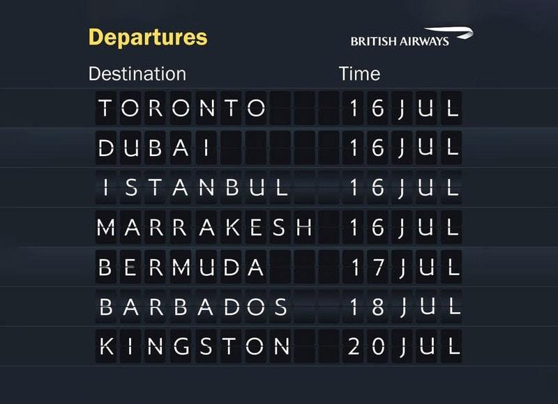British Airways Reinstated Routes July 2020