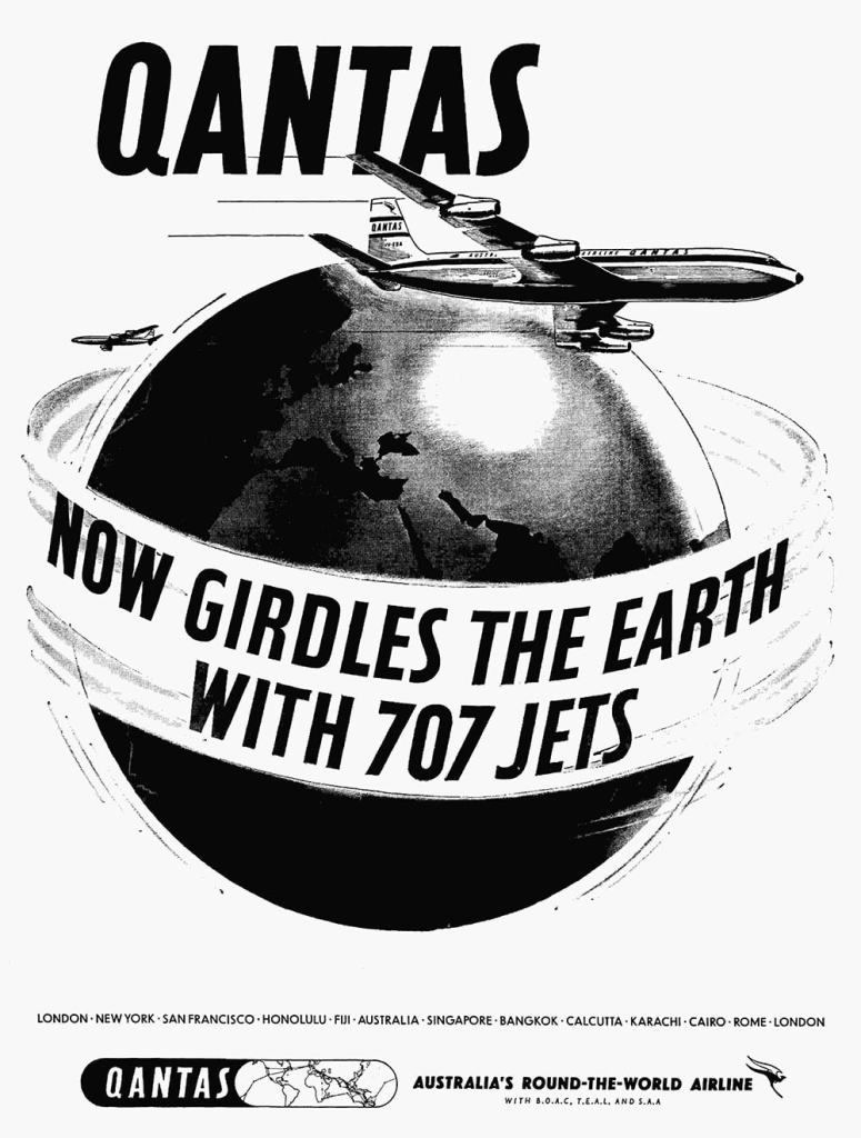 Qantas Boeing 707 Around The World Jet Services, 1959