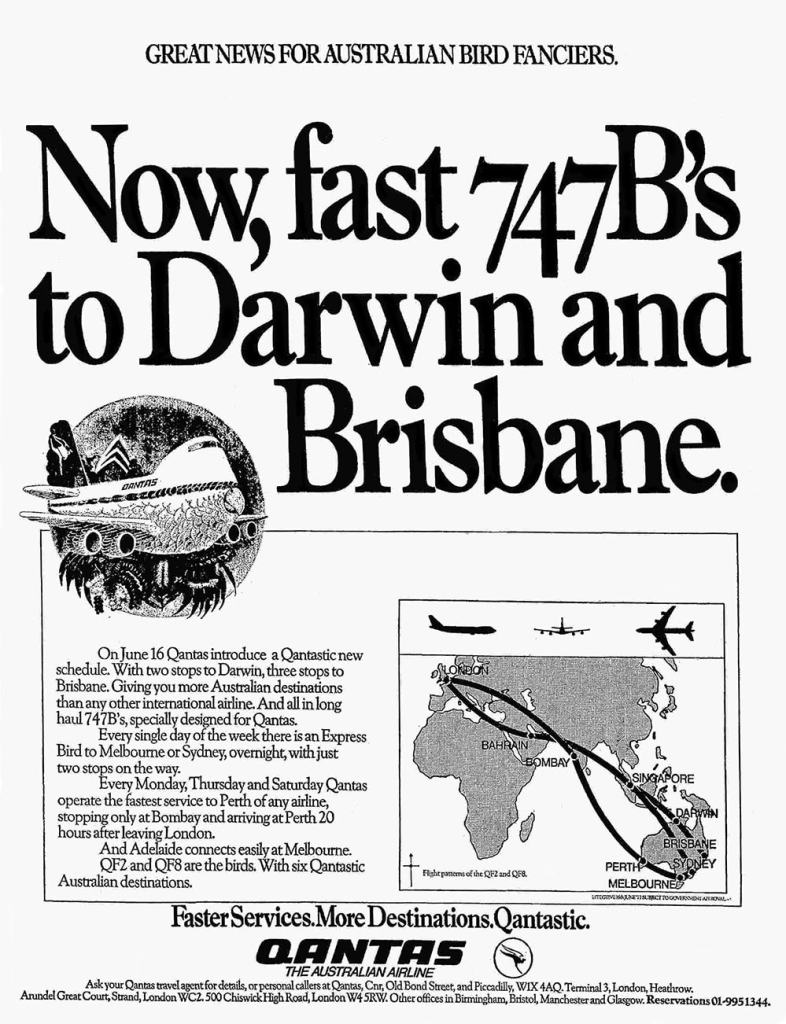 Qantas, London Heathrow to Darwin, Brisbane, June 1977