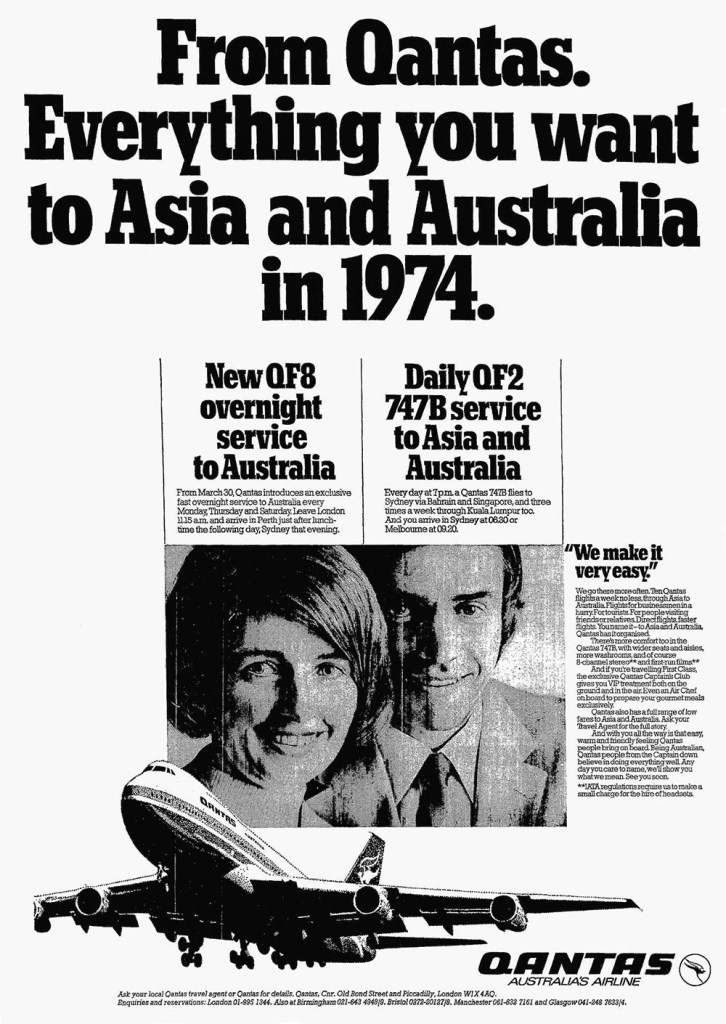 Qantas, London Heathrow to Australia Services, March 1974