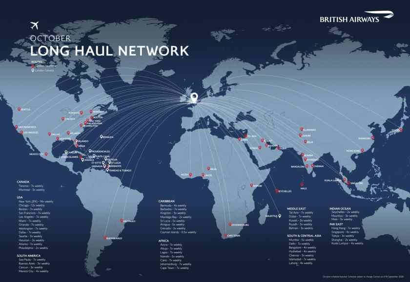 British Airways Long-Haul Network, London Gatwick & Heathrow, October 2020