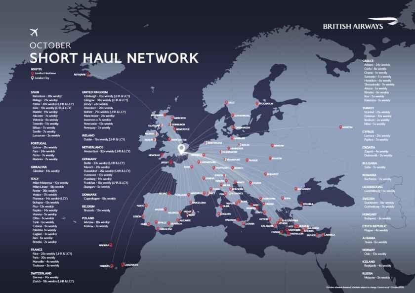 British Airways Short-Haul Network, London City & Heathrow, October 2020 (1 October 2020 version)