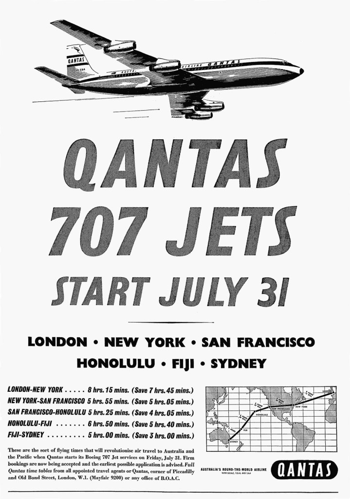 Qantas Boeing 707 Jets From London, 31 July 1959