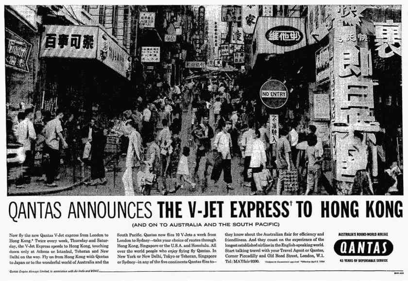 Qantas Boeing 707 V-Jet Flights From London To Hong Kong, March 1964