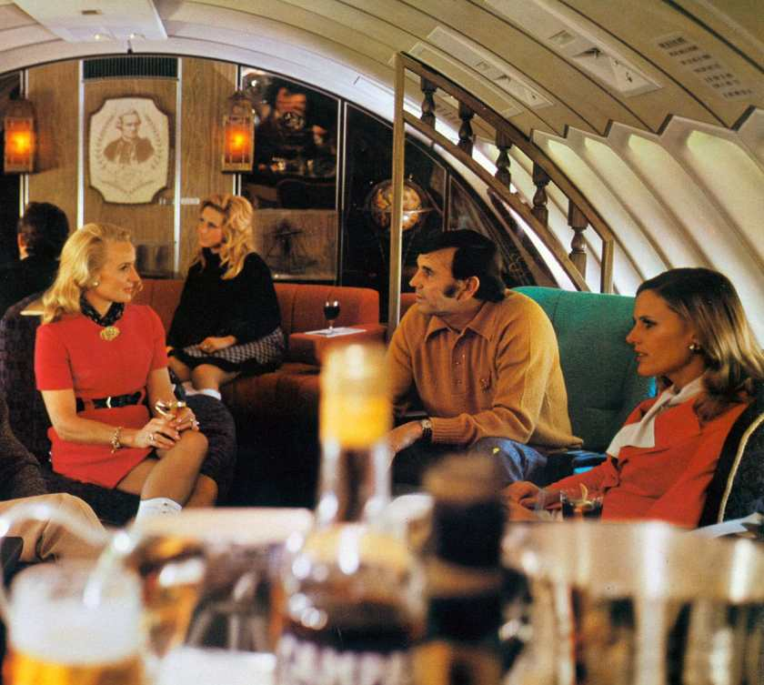 Qantas Boeing 747 First Class Captain Cook Lounge, 1970s