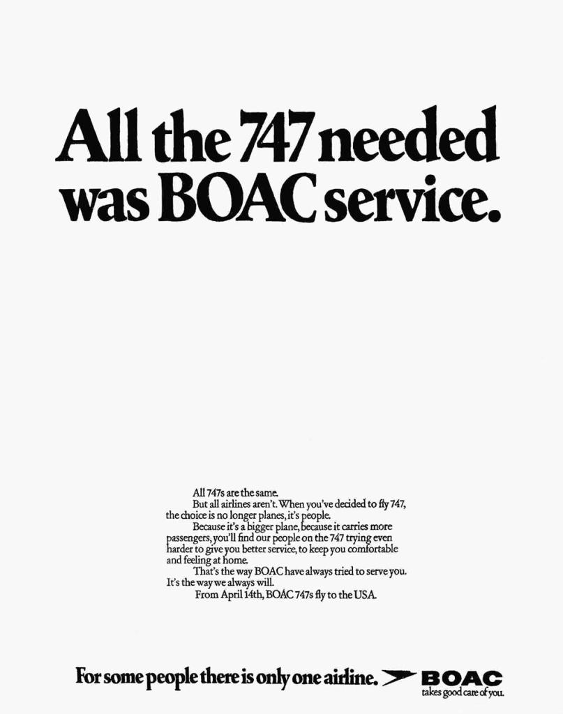 BOAC Boeing 747 Advertisement, April 1971