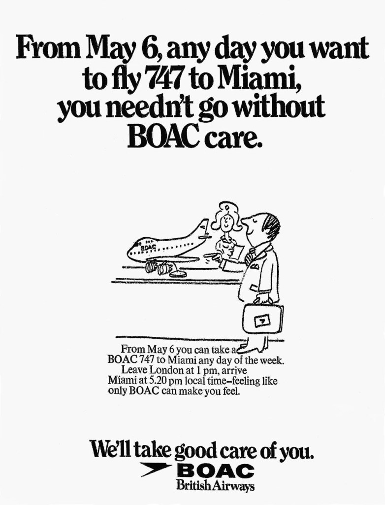 BOAC Boeing 747 Miami Advertisement, May 1973