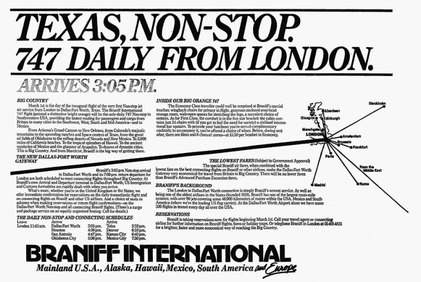 Braniff International, London Gatwick - Dallas / Fort Worth, February 1978