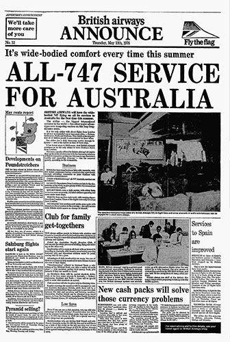 British Airways, Boeing 747 Australia Advertorial, 13 May 1976