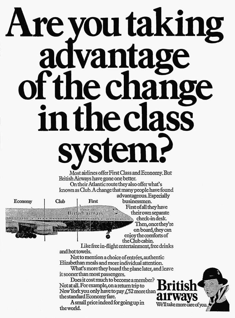 British Airways Club Class, November 1979