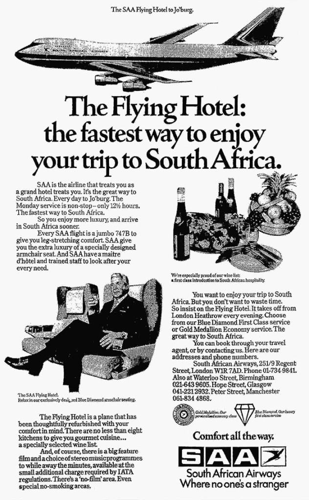 South African Airways, Boeing 747 London Heathrow - Johannesburg, May 1975