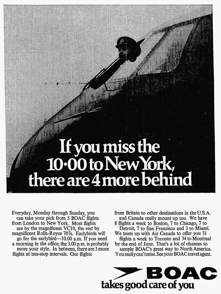 BOAC, London to New York, 5 times daily, May 1968