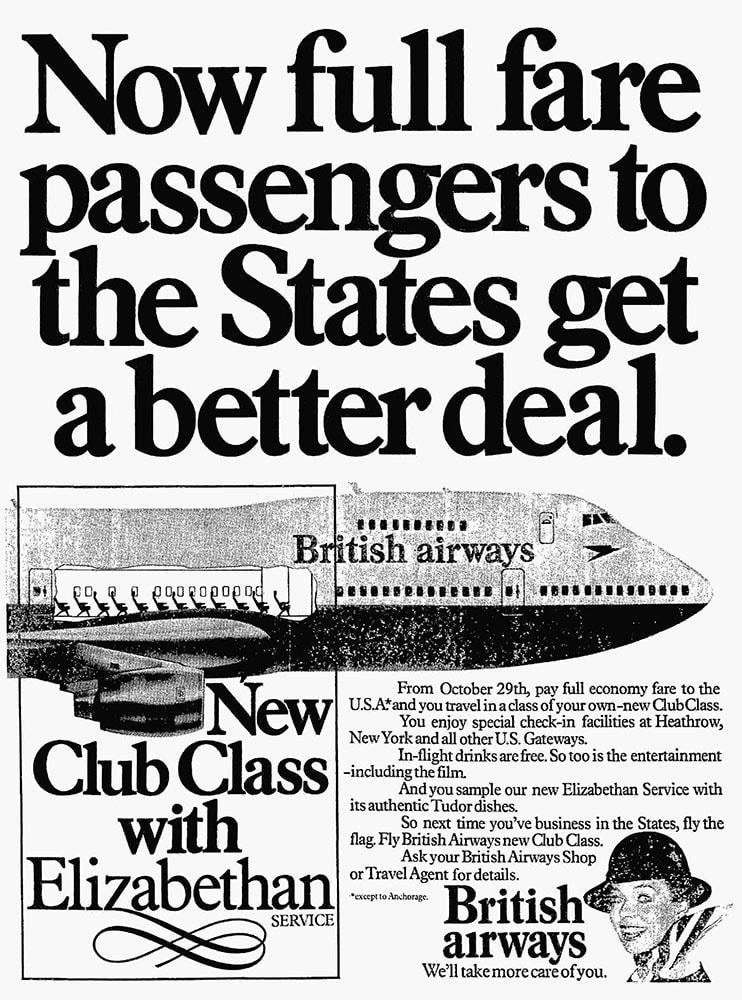 Advertisement for British Airways Club Class, 29 October 1978