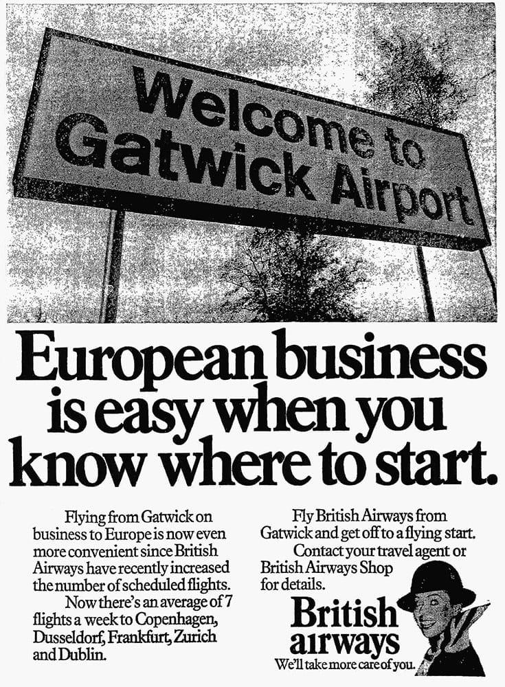 Advertisement for British Airways flights from London Gatwick