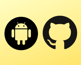 Github and Android Studio software logos on a yellow background image