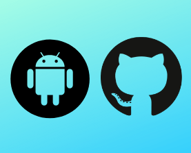 Android and Github software logos on a turquoise background