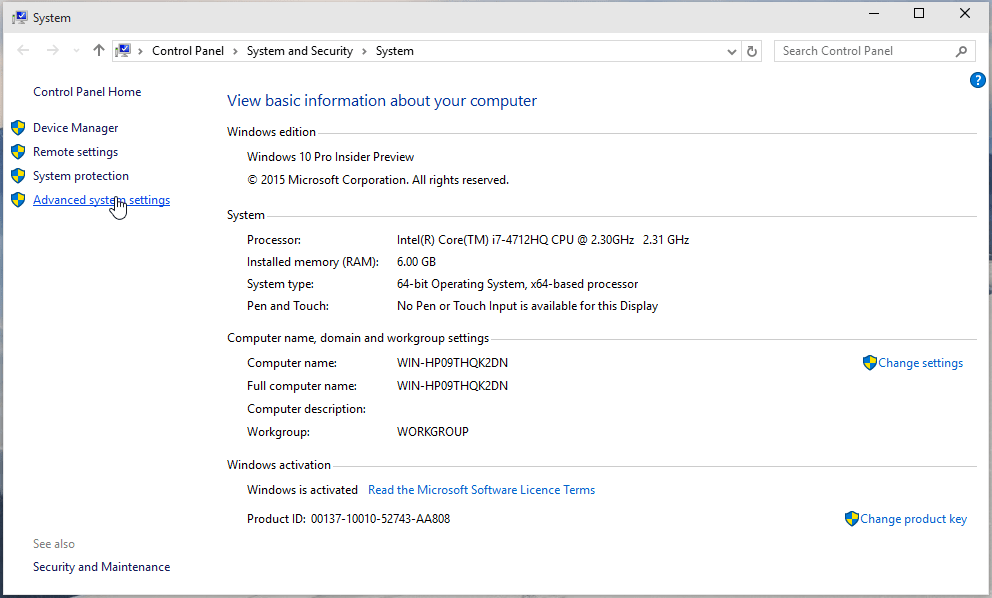 Windows 10 system menu screenshot