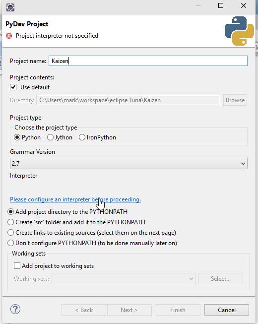 Windows 10 Python PyDev New Project Screenshot