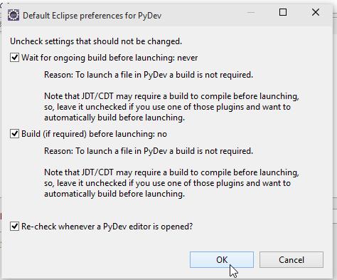 Windows 10 eclipse PyDev default screenshot