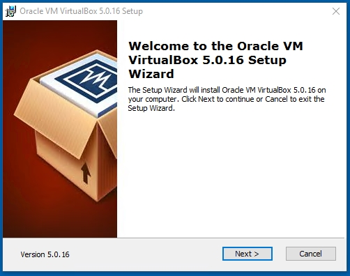 VirtualBox Welcome to Oracle VM VirtualBox 5.0.16 Setup Wizard