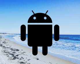 Android alien in front of a beach image