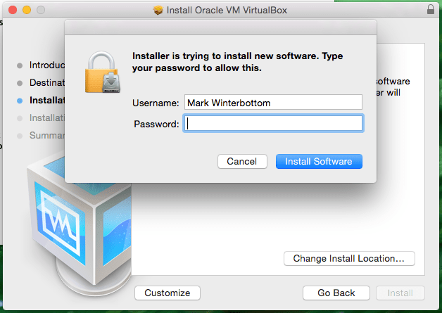 Installer is trying to install new software Screenshot