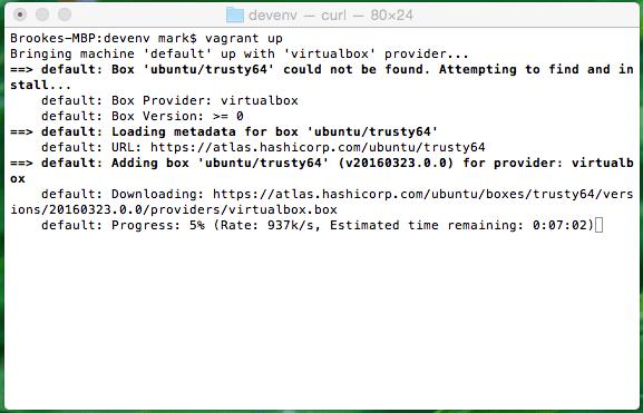 Mac OS X Vagrant Up Terminal Screenshot