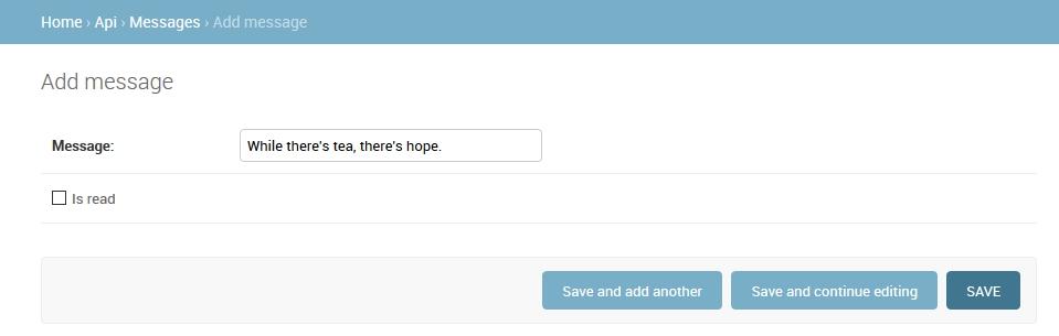 Django Admin Enter Message Screenshot
