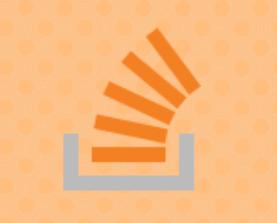 Stackoverflow logo on an orange polka-dot background