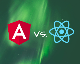 Angular and React logos side by side in a face-off