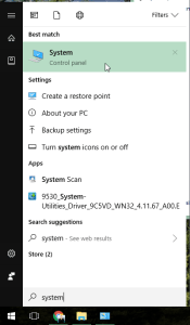 Screenshot of clicking start and typing System and selecting system menu