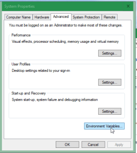 Screenshot of clicking Environment Variables from the System Properties window