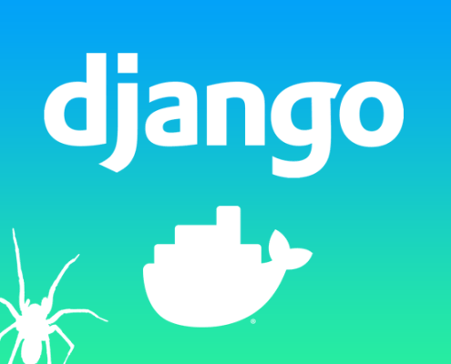 django and docker logos with a picture of a spider