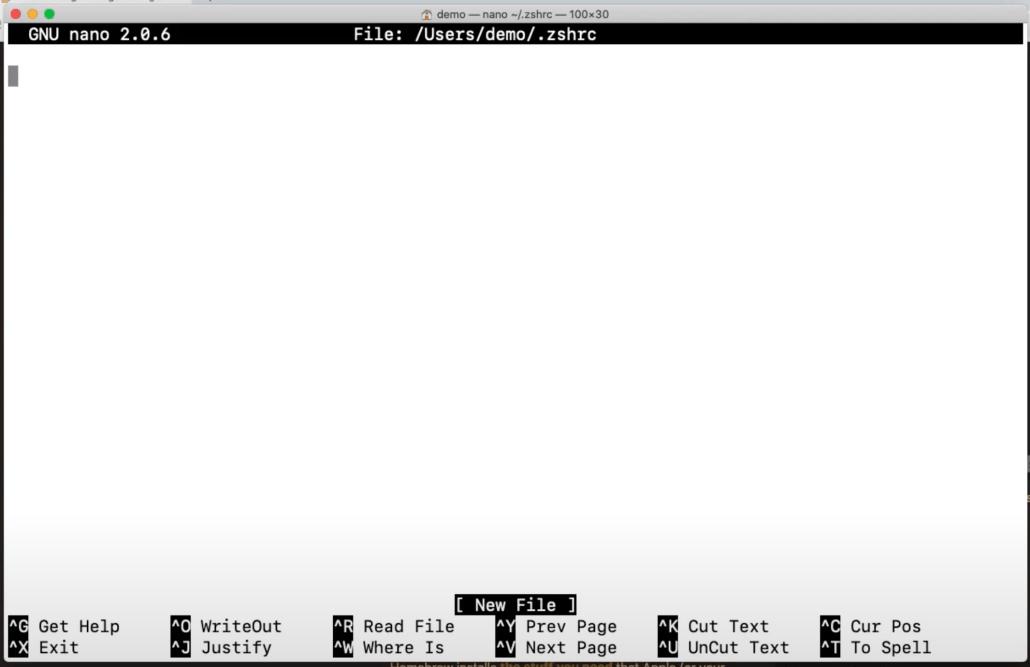 Screenshot of the nano editor