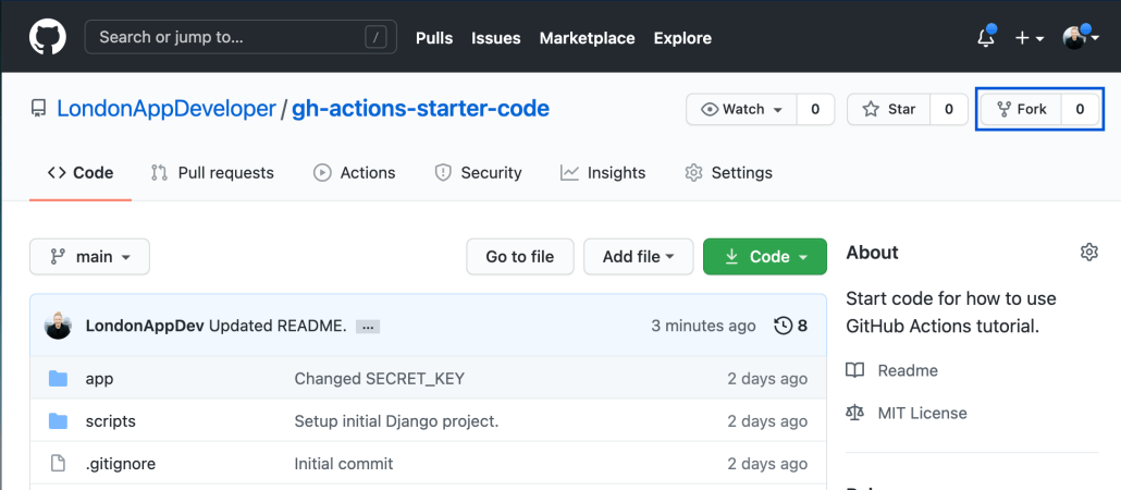 Screenshot of GitHub project with Fork option highlighted.