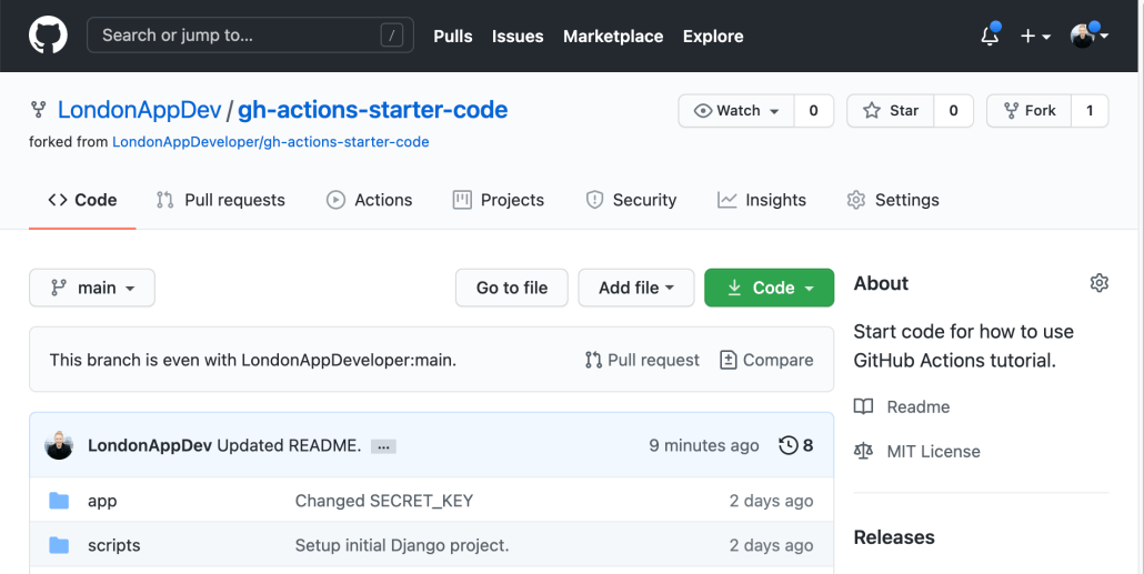 Screenshot of project forked to GitHub account.
