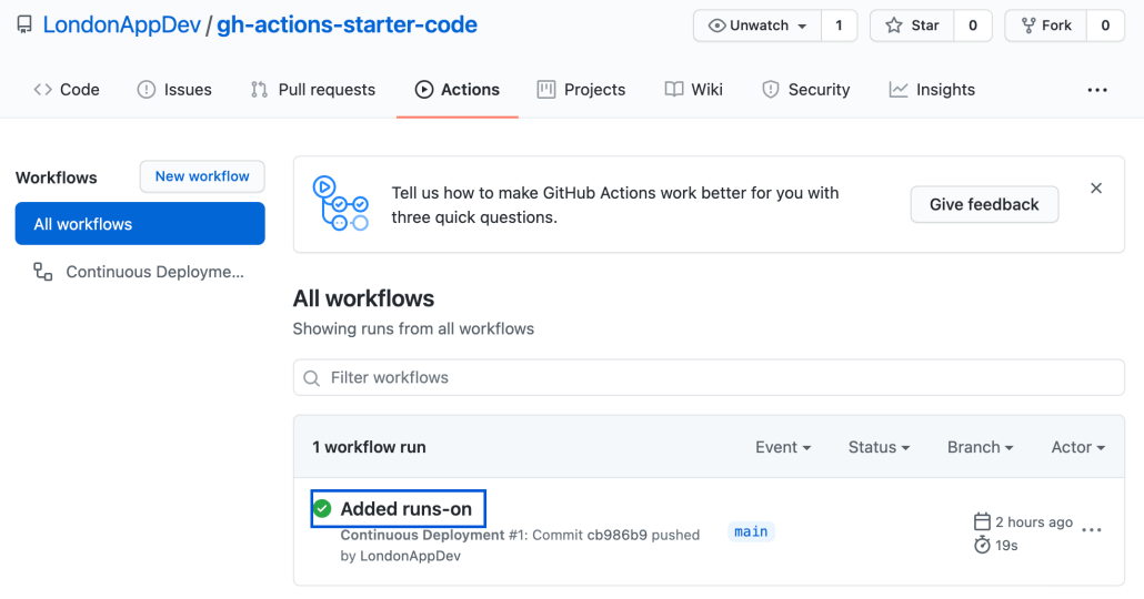 Screenshot of GitHub Actions workflow list page