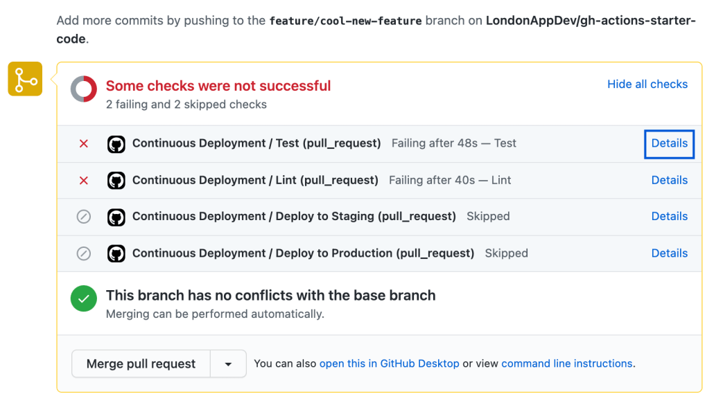 Screenshot of jobs running within pull request