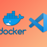 Docker and VSCode logos on an orange background