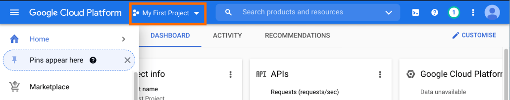 Screenshot of project dropdown