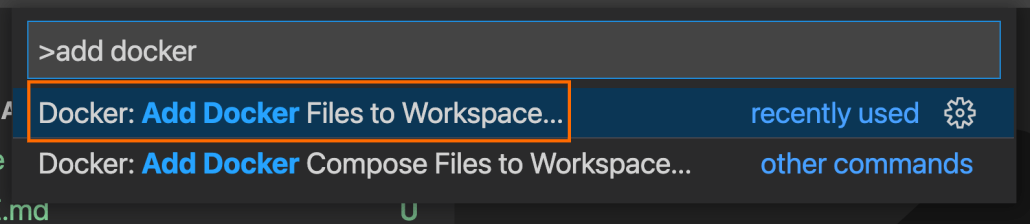 "Screenshot of command pallet with ""Add Docker Files to Workspace"" highlighted"
