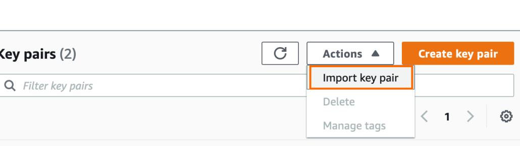 Screenshot of AWS import key pair option.