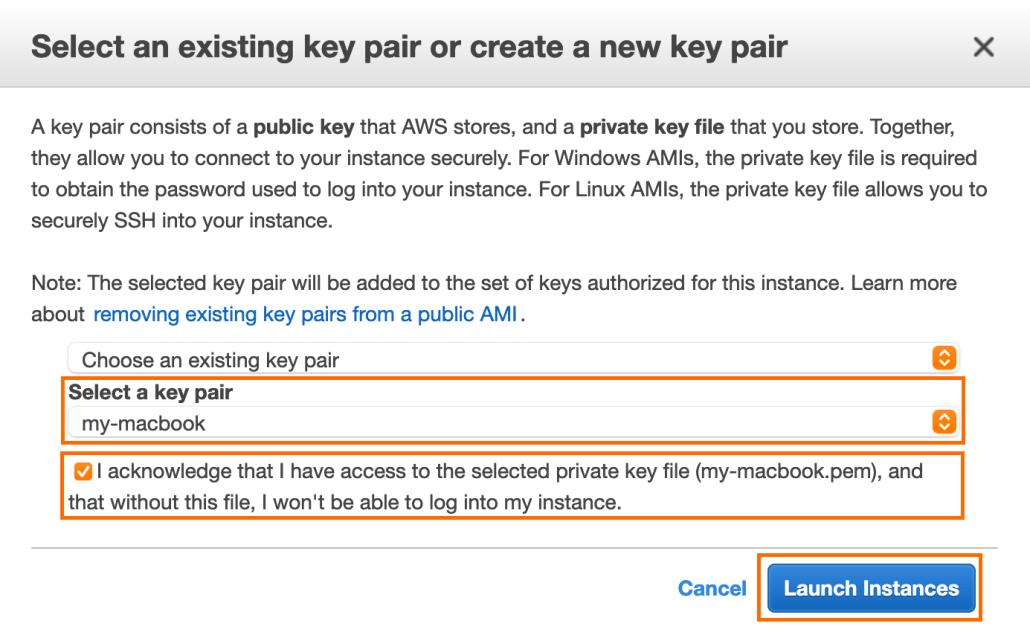 Screenshot of the select AWS key screen.