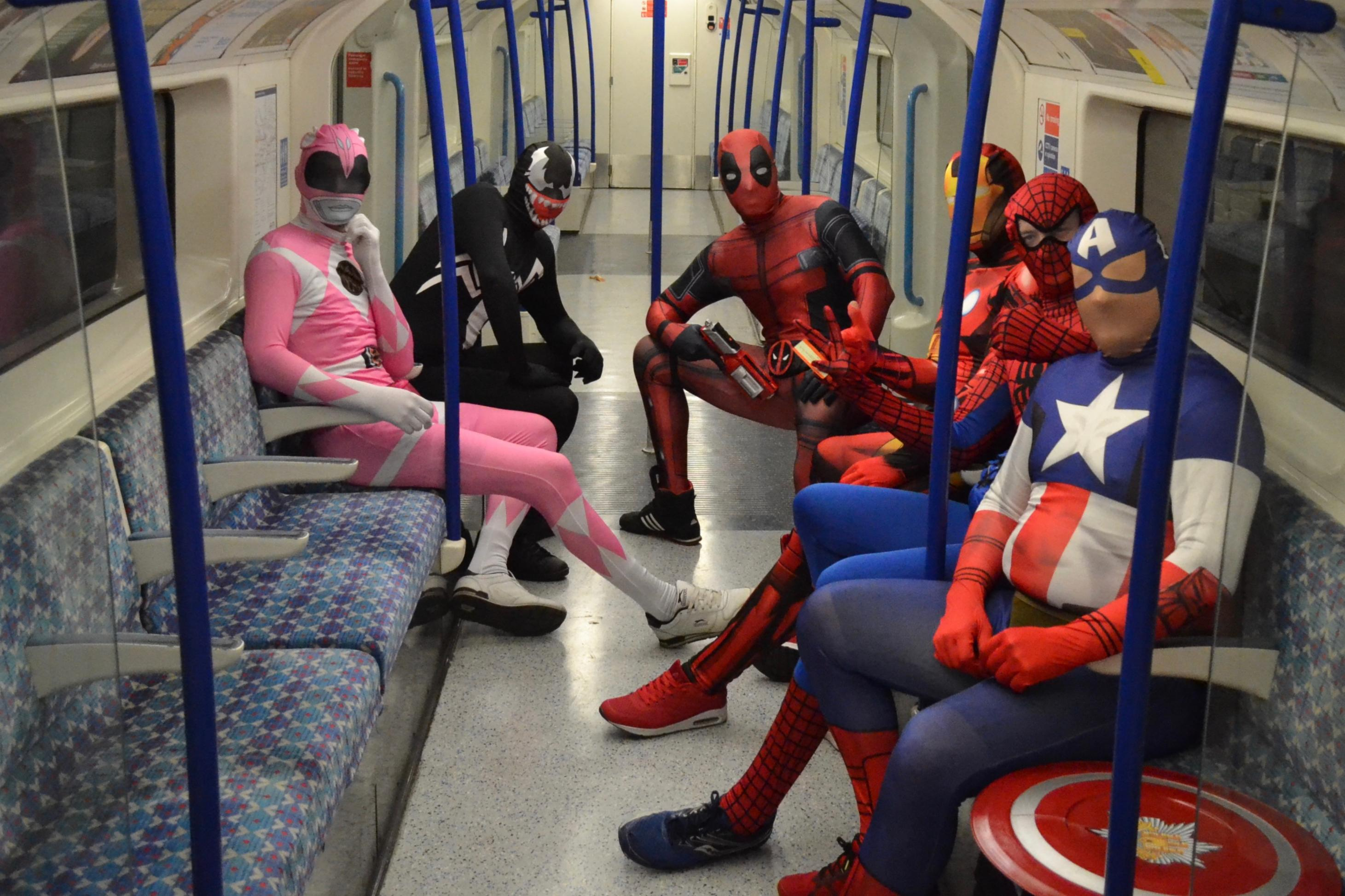 Superheroes on the London Underground